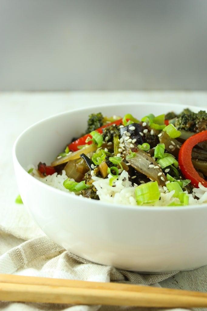 Vegan Eggplant Stir Fry in white bowl