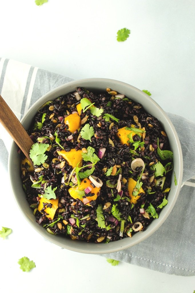 Mango Black Rice Salad in bowl