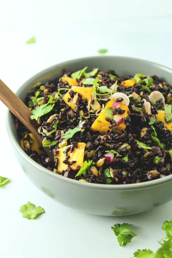 Mango Black Rice Salad in grey bowl