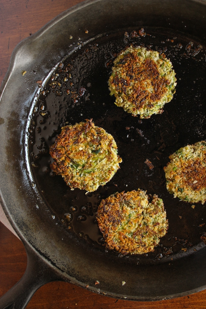 Brussels Sprout Fritters in pan