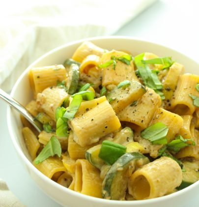 Vegan Rigatoni with Sweet Corn and Zucchini