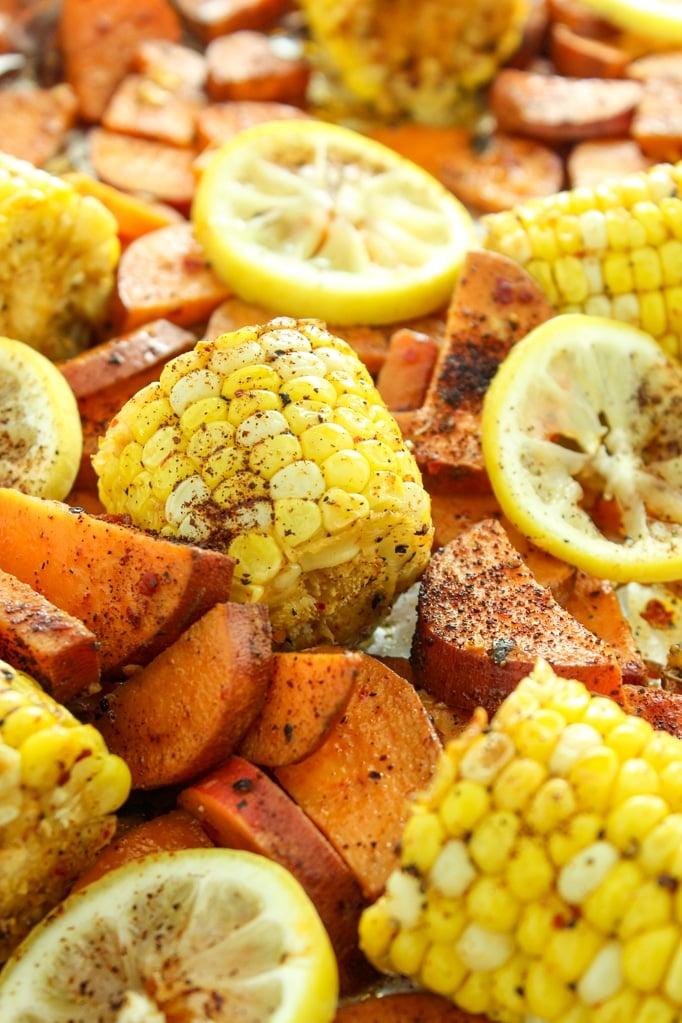 Cajun Roasted Sweet Potato and Corn Bake Close up