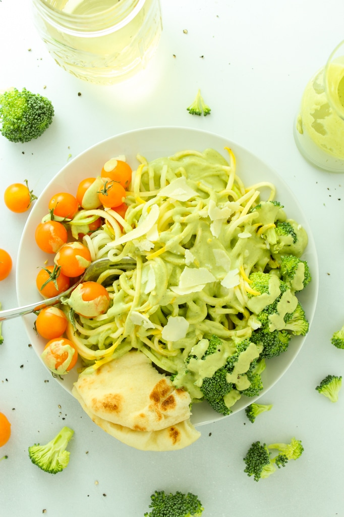 Creamy Vegan Broccoli Sauce Pasta Fork Plate