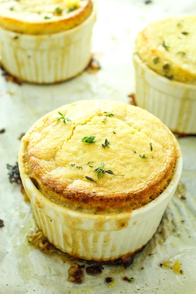 3 Vegan Pot Pies with Cornbread Crust