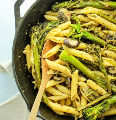 Broccolini Pasta with Creamy White Wine Sauce