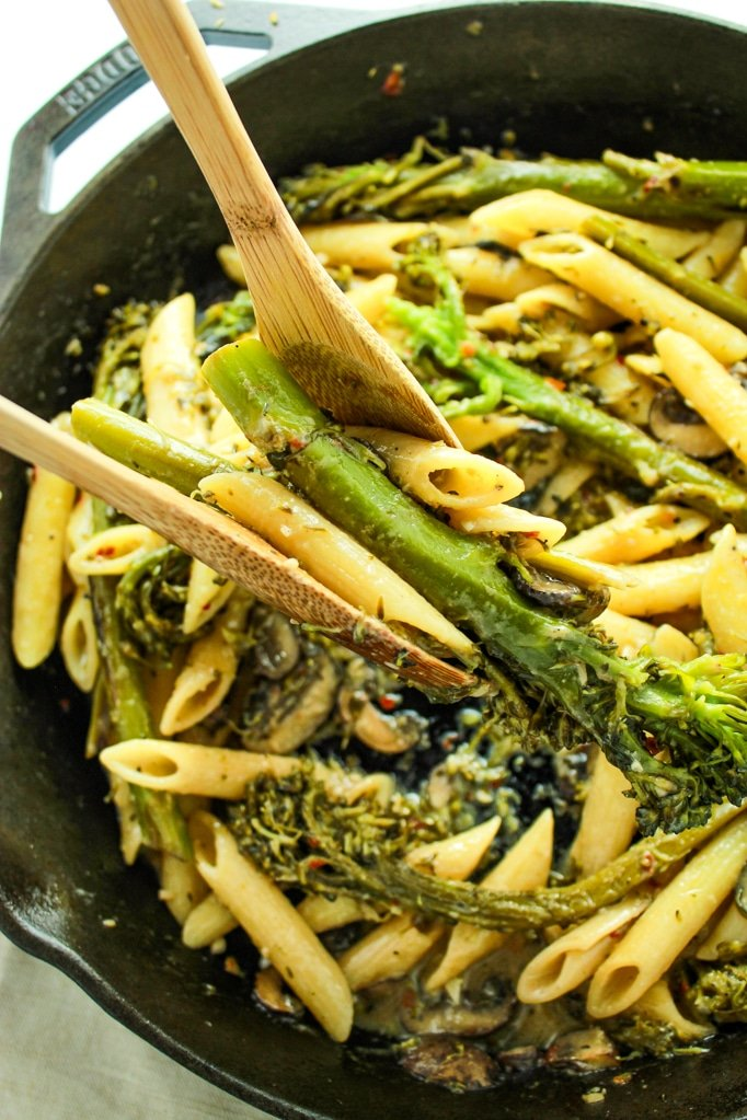 Broccolini Pasta with Creamy White Wine Sauce with Wooden Spoons