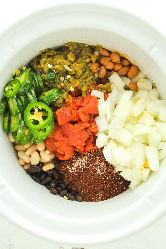 Three Bean Crockpot Vegan Chili –– This stuff is the bomb! Throw everything into the crockpot and let it simmer. Dinner is a breeze and it's awesome for leftovers!