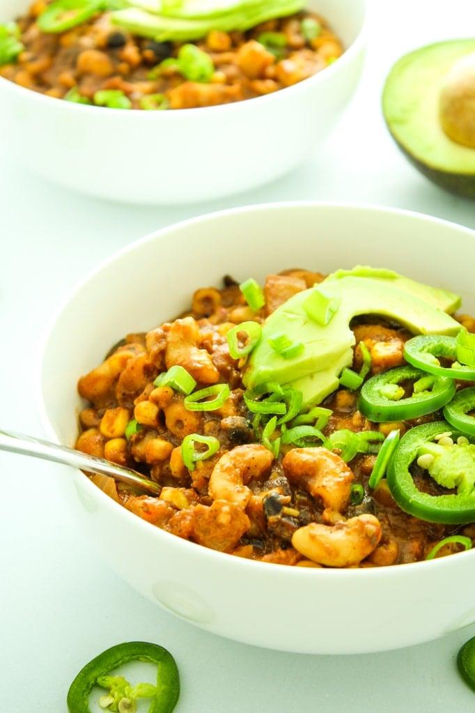 Three Bean Crockpot Vegan Chili