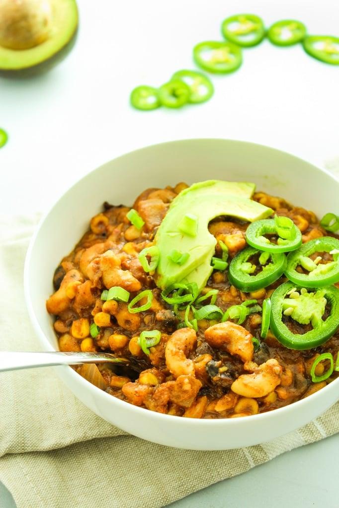 Three Bean Crockpot Vegan Chili Spoon Bowl