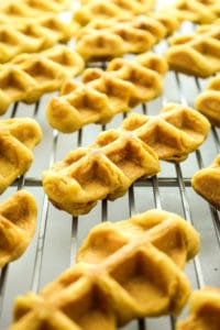 Vegan Pumpkin Spice Waffle Dippers –– These are the perfect fall brunch food! Dense, fluffy, moist and pumpkin spiced. They feed a crowd and are SO easy to make.
