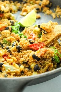 Vegan Cauliflower Rice Skillet – This is a GREAT low-carb swap for rice. Loaded with chopped veggies and flavorful spices!