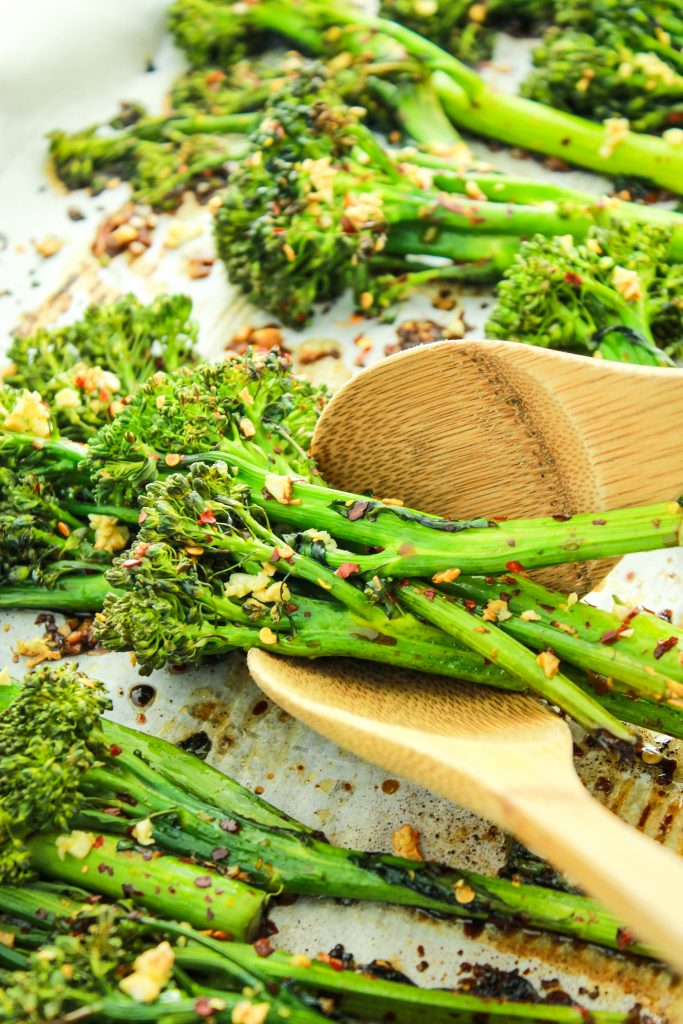 Garlic Roasted Broccolini Two Wooden Spoons