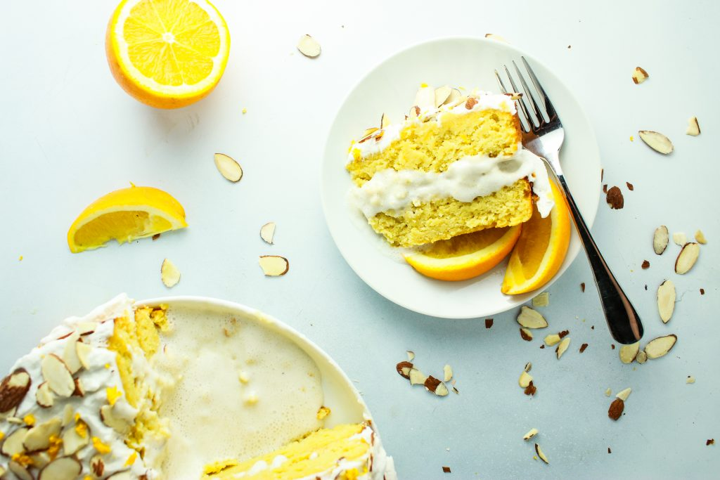 Almond Orange Cake Fork Plate