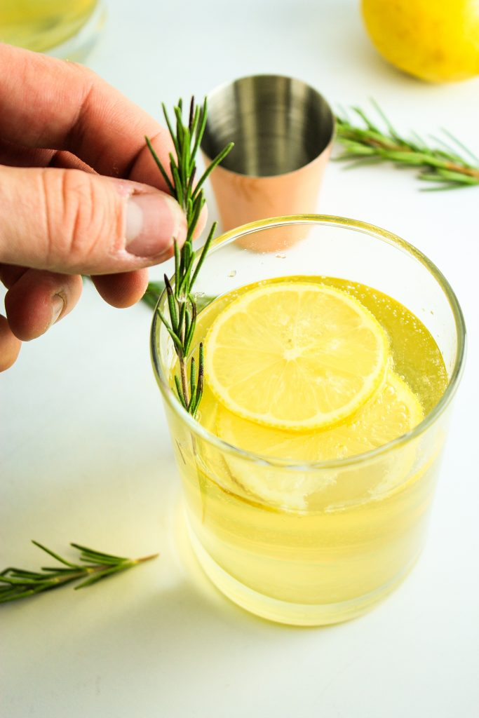 Lemon Ginger Prosecco Cocktail Rosemary