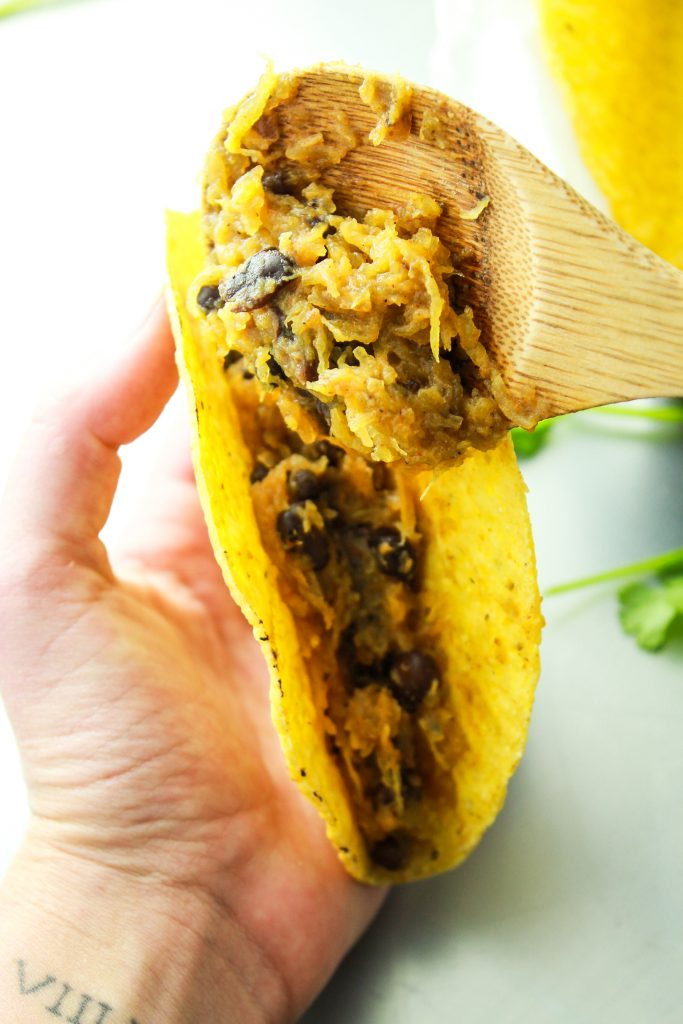 Spaghetti Squash Tacos – Another easy way to cook spaghetti squash! Flavor with taco seasonings and load up with your favorite toppings.