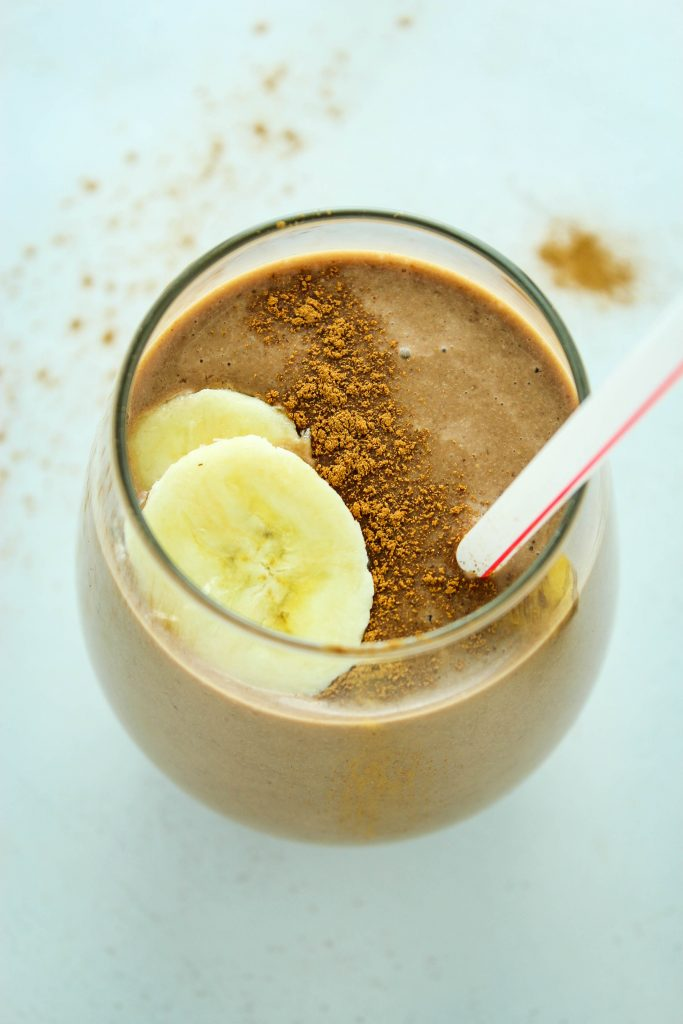 Chocolate Espresso Protein Smoothie Straw Glass