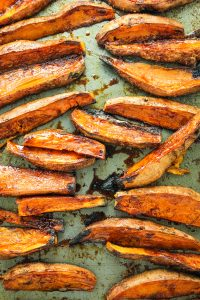 CINNAMON SUGAR SWEET POTATO FRIES – These are my new favorite dessert! They get crispy and sticky in the oven – irresistible!! Honestly... my sweet tooth prefers them to cookies!