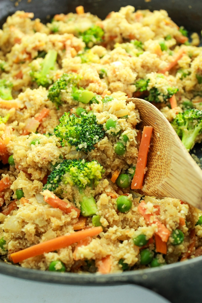 Cauliflower Rice Stir Fry Wooden Spoon