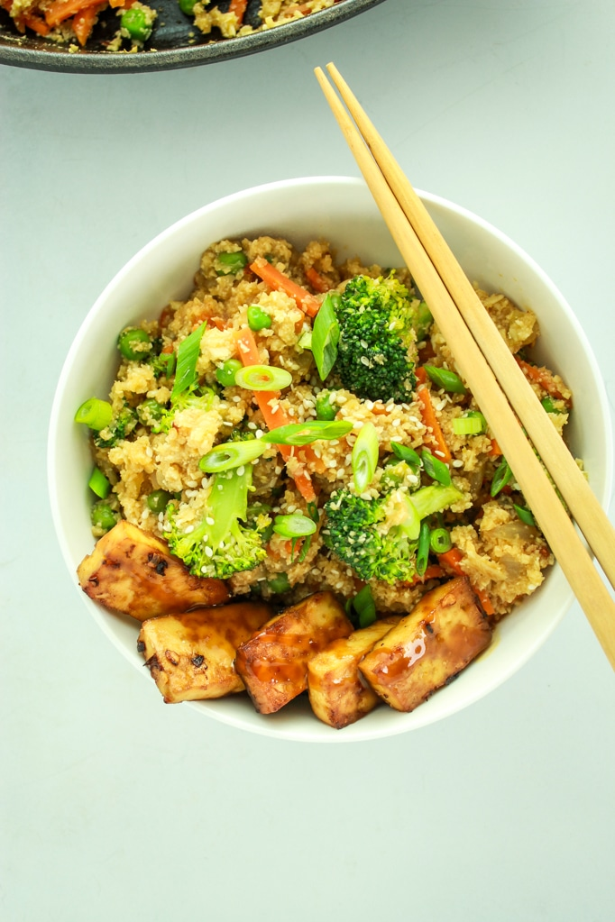 Cauliflower Rice Stir Fry with chop sticks