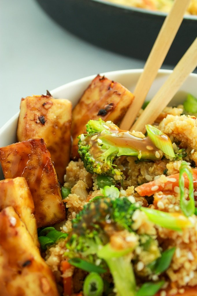 Cauliflower Rice Stir Fry Chop Sticks