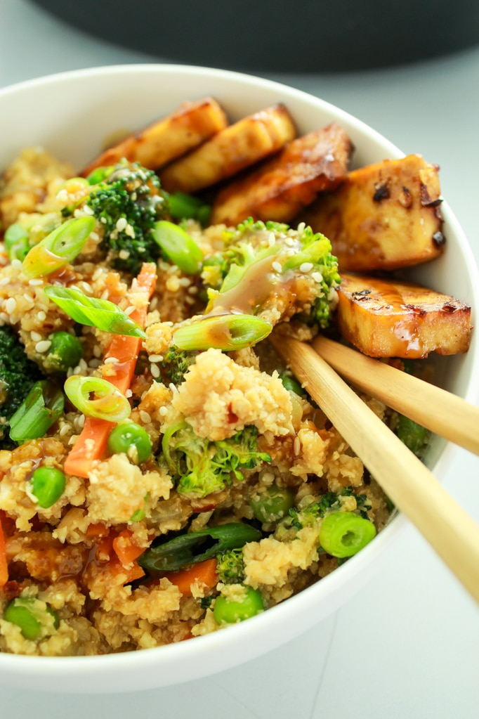 Chop Sticks Cauliflower Rice Stir Fry Close up Chop Sticks