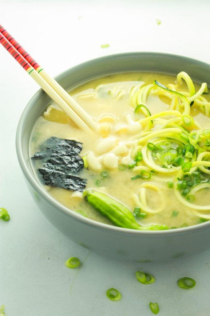 Easy Vegan Miso Soup Bowl Chop Sticks