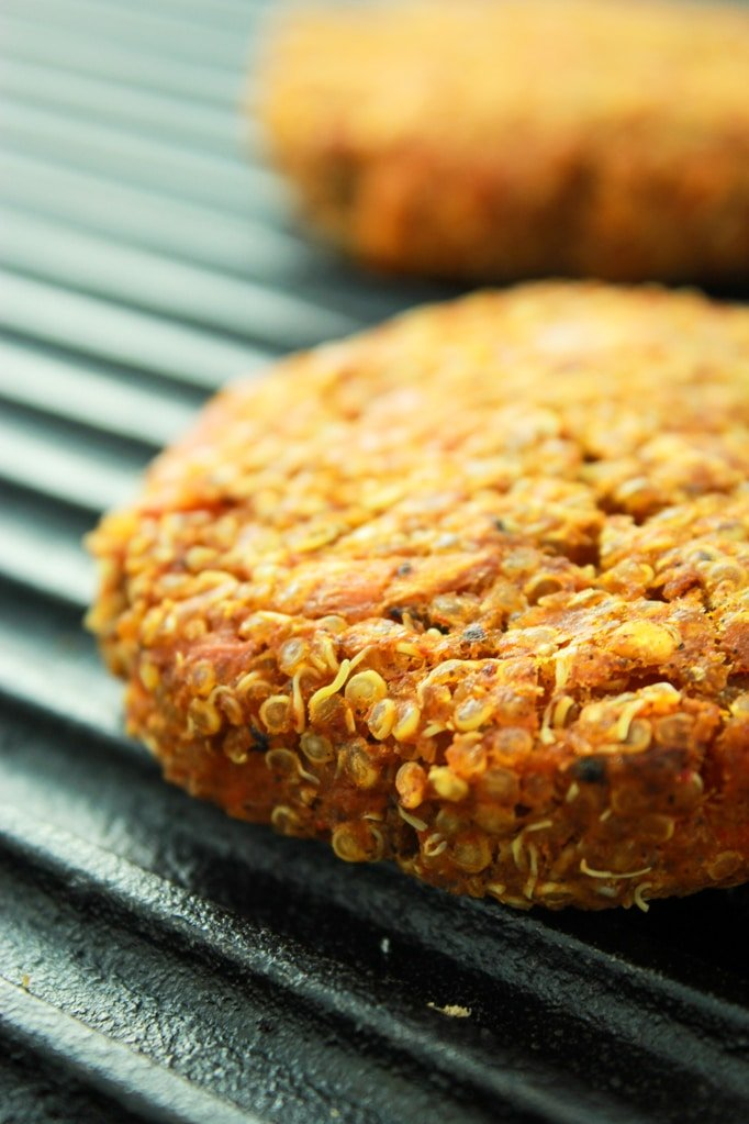 Spicy Sweet Potato Burger Grill