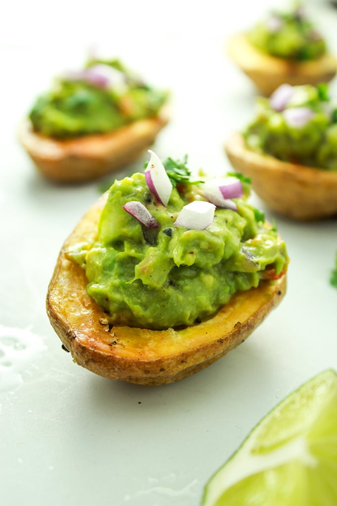 Guacamole Stuffed Potato Skins – NEXT level potato skins. The guacamole gets an extra flavor bomb from roasted tomatoes. These are a hit at every party ever!