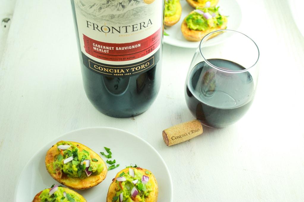 Guacamole Stuffed Potato Skins Wine Glass Bottle Cork