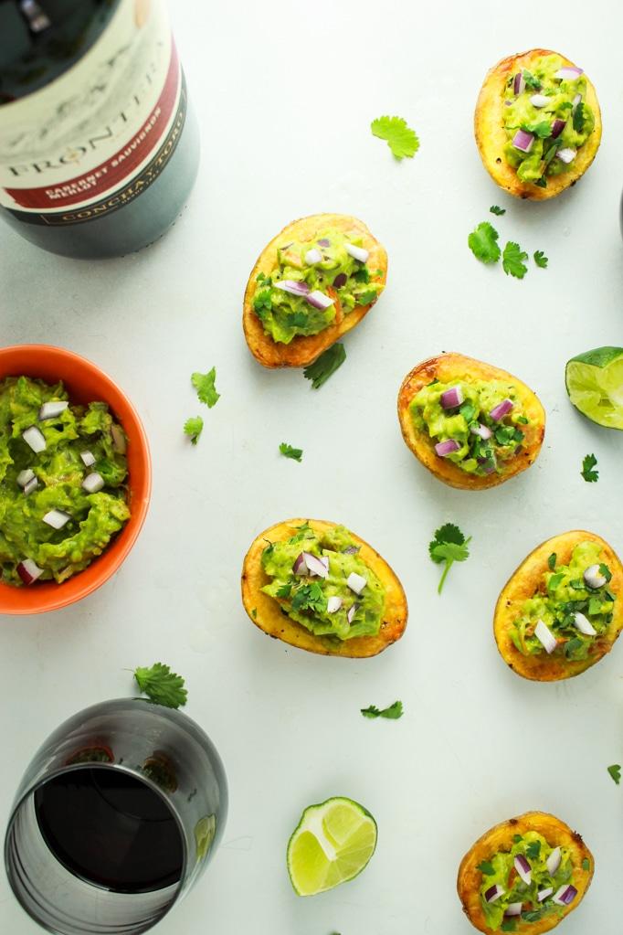 Guacamole Stuffed Potato Skins Wine Bottle Glass