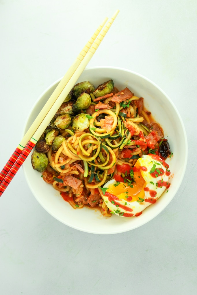 Kimchi Zucchini Noodles – New dinner obsession. Sweet, spicy, tangy mouth party. Super filling, but HEALTHY!