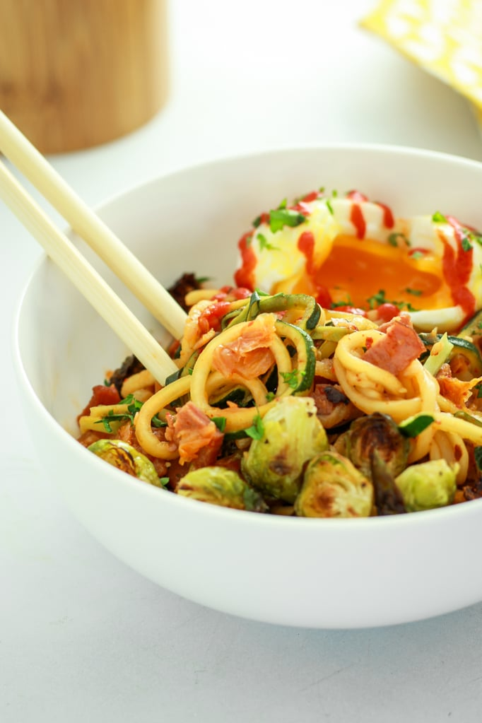 Kimchi Zucchini Noodles in bowl with chop sticks