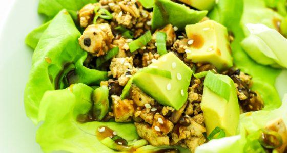 Spicy Tofu Mushroom Lettuce Wraps