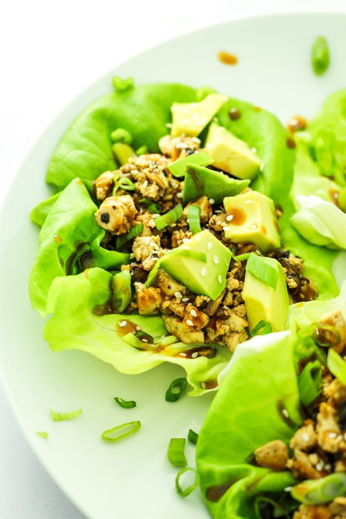 Spicy Tofu Mushroom Lettuce Wraps on Plate Close up