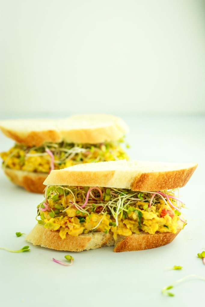 Vegan Chickpea Salad Sandwiches – 5 MINUTE RECIPE! This is my go-to lunch right now. It's so easy and so healthy. Filling, too!