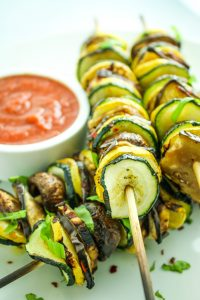 Grilled Ratatouille Kebabs – My favorite vegan skewer recipe! Summer squash and mushrooms and eggplant – SO good!