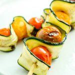 Grilled Zucchini Tomato Kebabs - Simple summer grilling kebab combo. These flavors go perfect together. These look fancy enough to serve at a party!