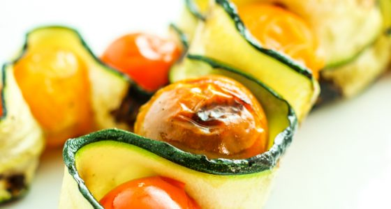 Grilled Zucchini Tomato Kebabs