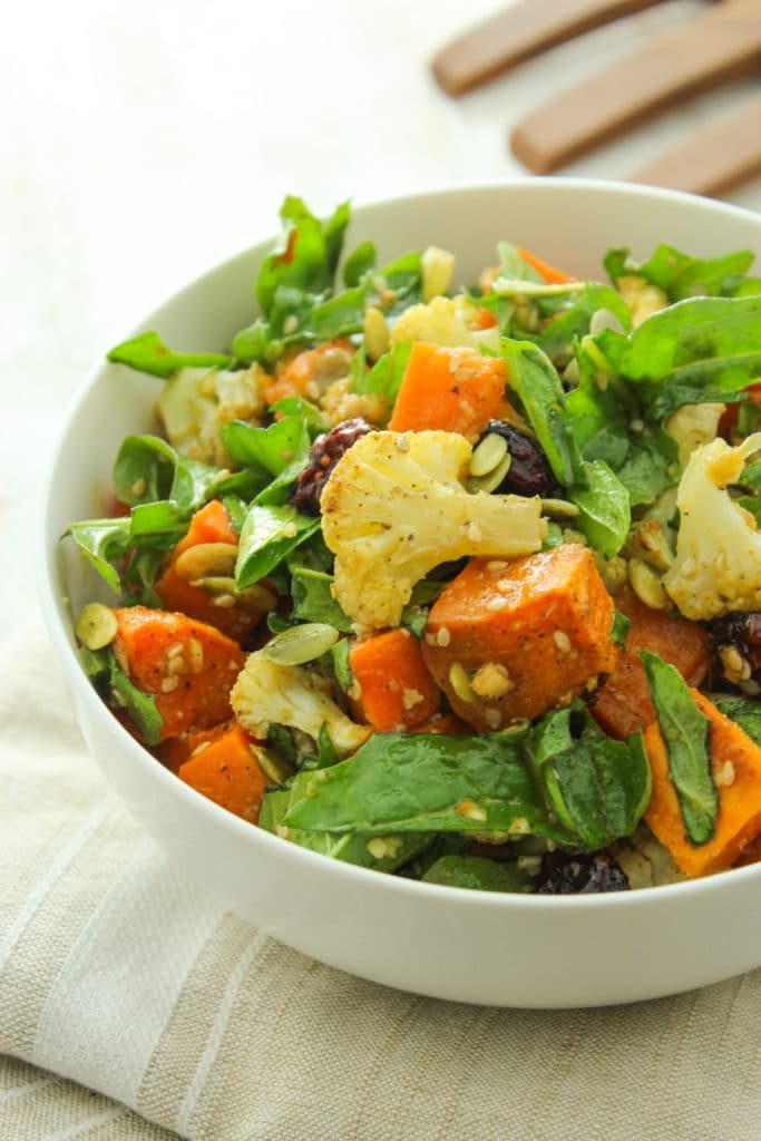 Roasted Sweet Potato Salad With Ginger Miso Dressing From The Fitchen