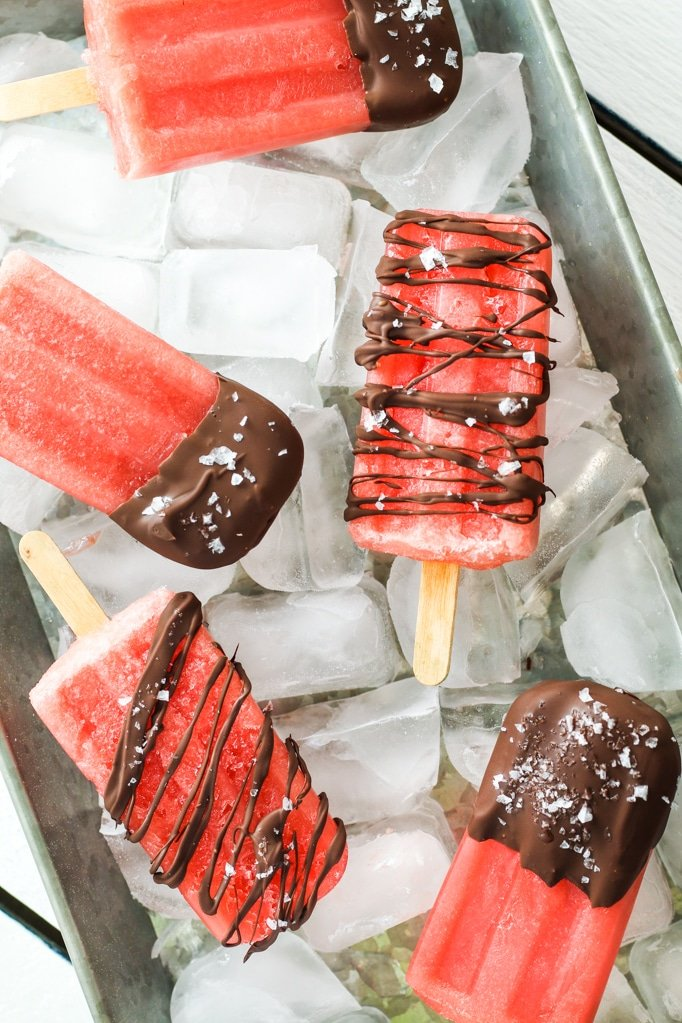 Salted Chocolate Watermelon Popsicles – Summer FAVORITE! These are just sweet enough and the dark chocolate with sea salt makes them divine.