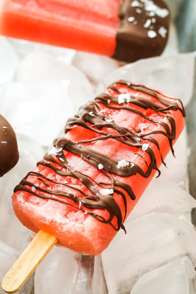 Salted Chocolate Watermelon Popsicles