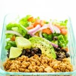 Tofu Burrito Bowl Meal Prep – Easy and FAST meal prep recipe using tofu. This is one of my favorites to pack for lunch. Cheap meal prep.
