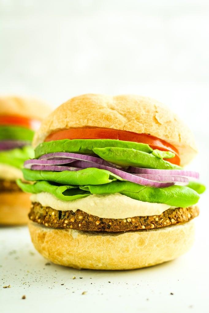 Eggplant Veggie Burger Close up