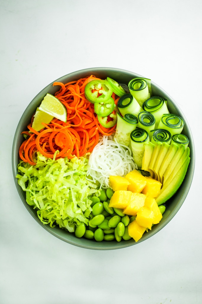 Summer Roll Bowls Ingredients in Bowl