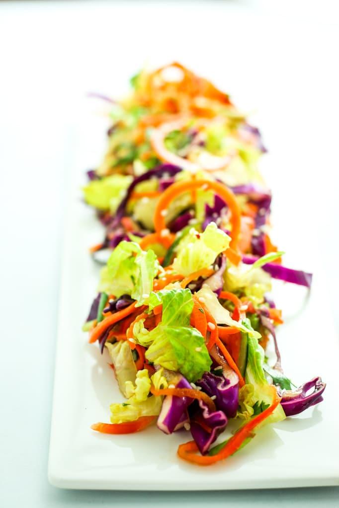 Rainbow Thai Salad on plate