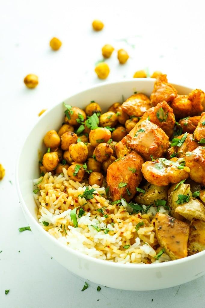 Tandoori Chicken Bowls with Peanut Sauce in bowl chickpeas