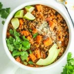 Crockpot Southwest Turkey Chili – The BEST and easiest slow cooker turkey chili I've ever made. The sweet potatoes, quinoa, and black beans make it so hearty.