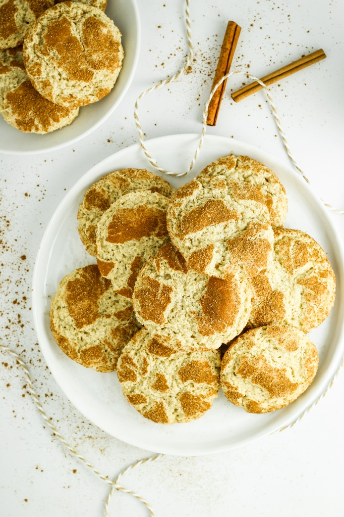 One Bowl Gluten Free Snickerdoodles on white plate