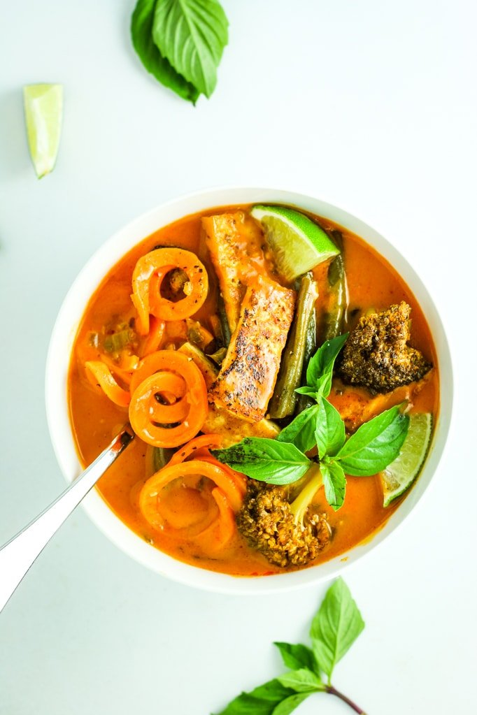 Sweet Potato Noodle Red Curry - This is the BEST Thai red curry I've ever made. Simple ingredients and easy process. Done in under an hour. Vegan!