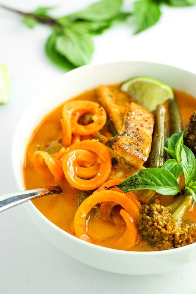 Sweet Potato Noodle Red Curry in bowl with spoon